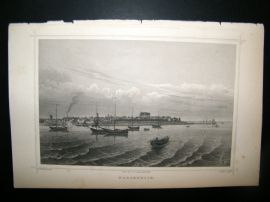 Holland Netherlands C1850's Antique Print. Harderwijik